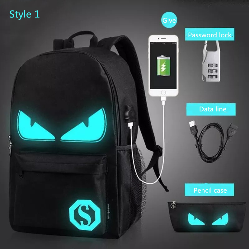 OLEOY Style Student School Backpack Anime Luminous  USB Charge Laptop Computer Backpack For Teenager Anti-theft Boys School Bag