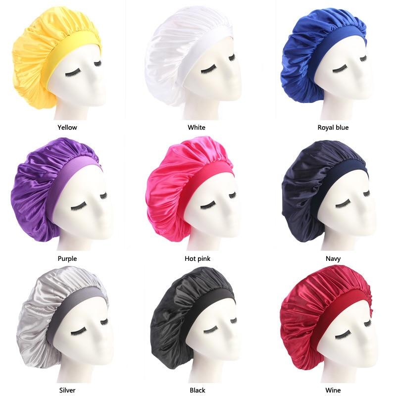 Women's Satin Solid Wide-brimmed Sleeping Hat Night Sleep Cap Hair Care Bonnet Nightcap For Women Men Unisex Cap Bonnet De Nuit