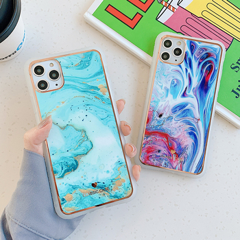 SUYACS Gradient Marble Phone Cases For iPhone 12 Mini 11 XS Pro Max XR X 7 8 Plus Case Shockproof Soft Transparent Back Cover image