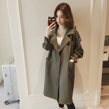 S-4XL Spring and Autumn 2019 New Fashion Leisure Long Windswear LadiesLoose Coat