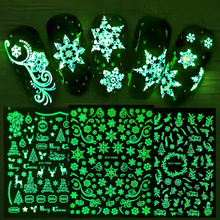 1 pcs 5D Luminous Nail Stickers Winter New Year Slider Wraps Decoration Glowing in The Dark Nail Art Decals LASTZY001-009
