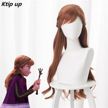 цена на Ktip Up 2019 New Anime Princess Anna Cosplay Wig 70cm Long Wavy Heat Resistant Synthetic Hair Brown Women Disney Party Wig