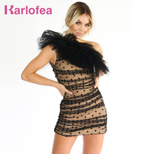 Karlofea חדש רשת מנוקדת חתונה מסיבת שמלת שיק התלקחות אחת כתף שרוולים Ruched מיני שמלה אלגנטי המפלגה תלבושות שמלה