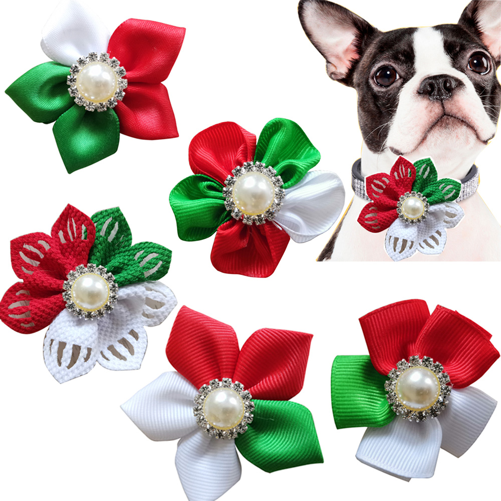 20/50pcs Christmas Pet Products Pet Dog Collar Decoration Accessories Dog Bow Tie Collar Small Dog Xmas Party Grooming Supplies