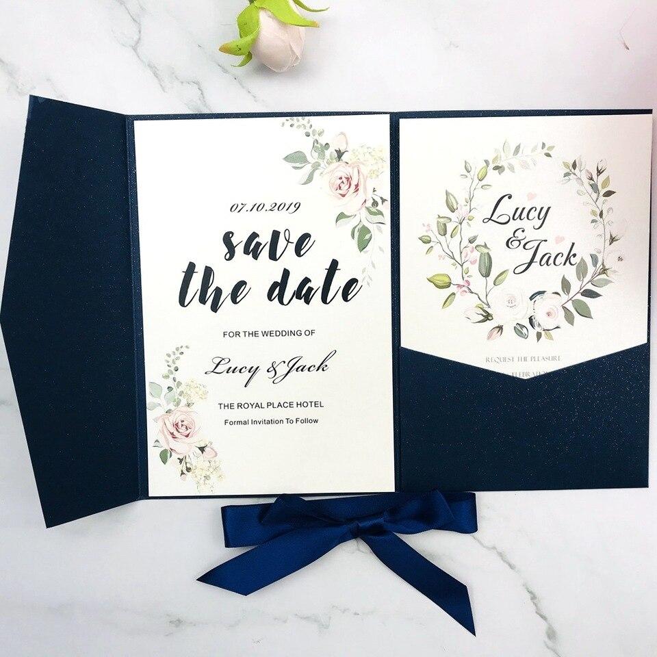 1pcs Wedding Invitation Cards Burgundy Navy Blue Gray Ivory Tri fold  Glitter Laser Cut pocketfold invite Envelope free shipping| | - AliExpress