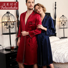 Robes Dressing-Gown Couple Mulberry Women Silk 19-Momme Sleepwear And Sexy Elegance 100%Genuine