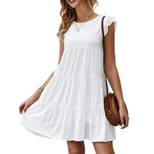 Women's Summer Mini Dress Ruffle Sleeve Round Neck Solid Color Loose