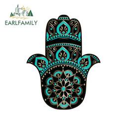 EARLFAMILY 13cm x 10.1cm For Golden Black Hamsa Personality Car Sticker Waterproof Decal Scratch-proof Decals Suitable for SUV