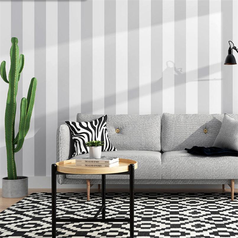 Beibehang Nordic Style Ins Modern Gray Vertical Stripes Wallpaper Living Room Bedroom Clothing Store Tv Background Wall Paper