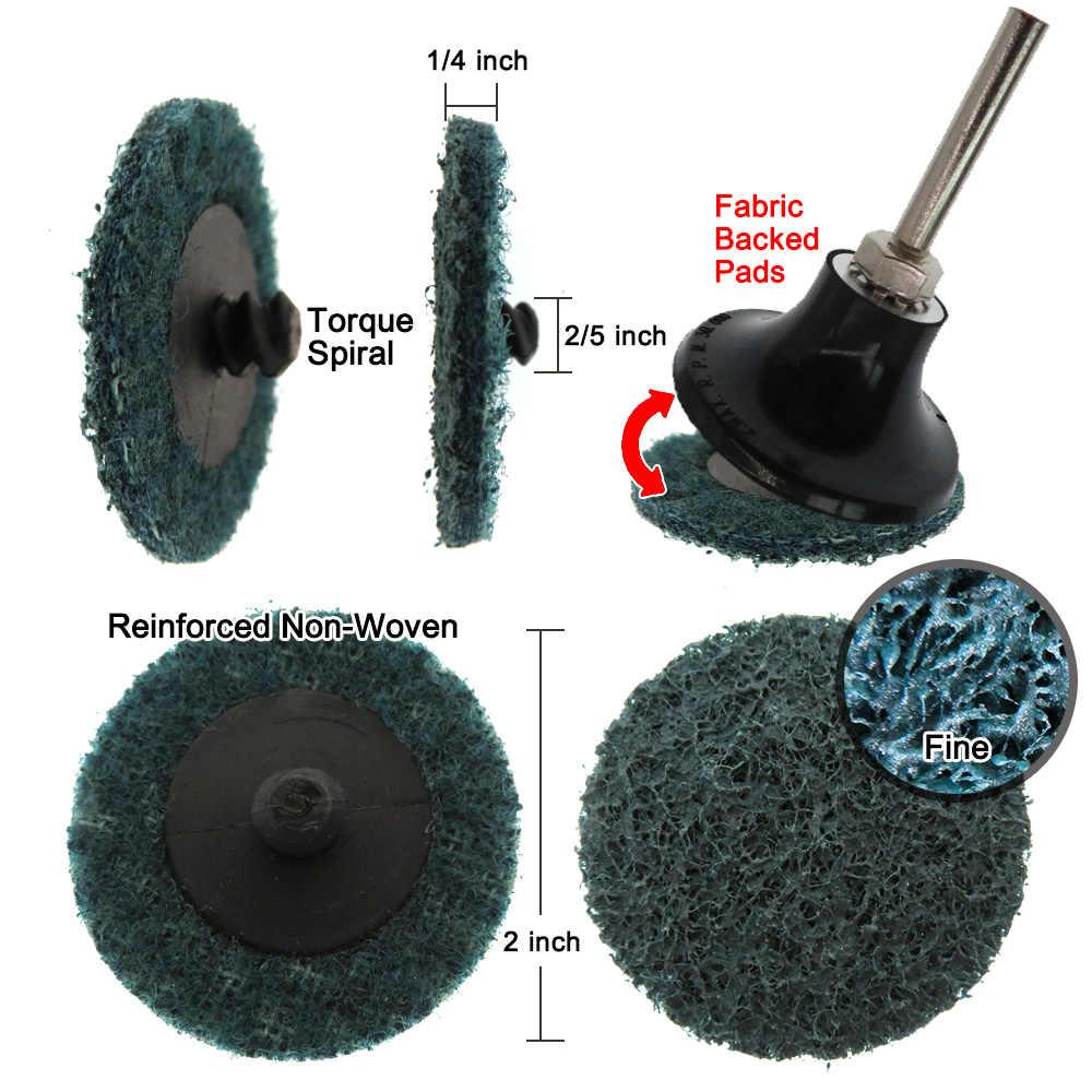 35/46/52PCS 2 Inci Amplas Cakram Roll Lock Surface Conditioning Cakram R-Jenis Perubahan Cepat Disc With1 Disc Pad Pemegang
