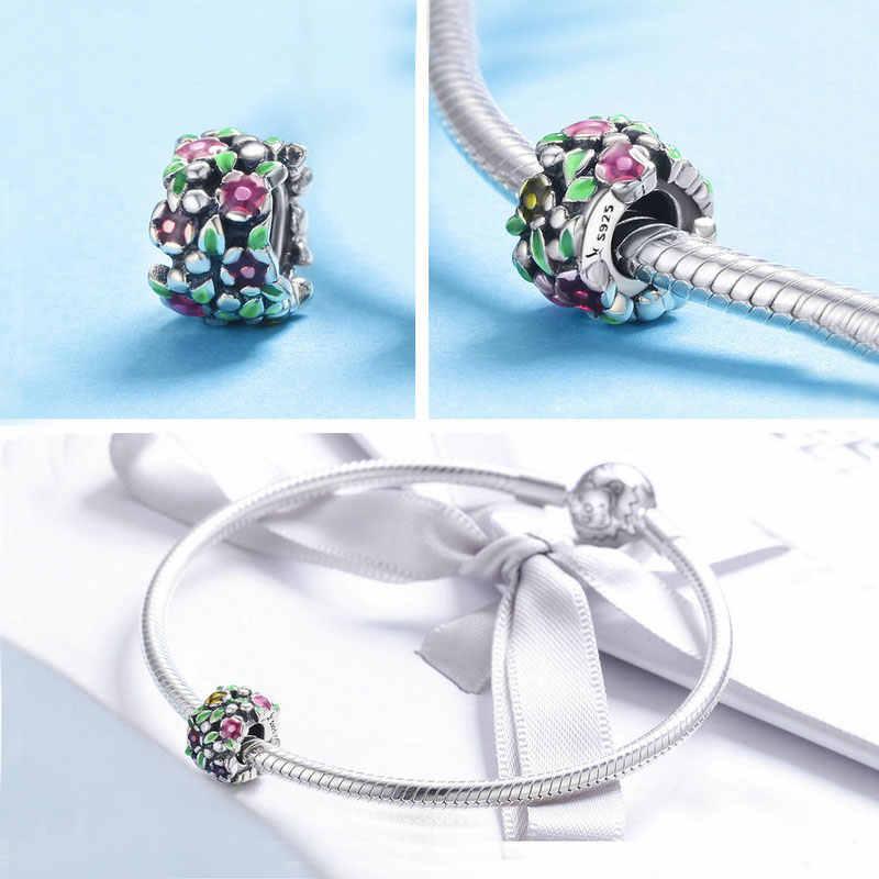 BISAER Authentieke 925 Sterling Zilver Magnolia Orchidee Cherry Cerise Rose Flower Kralen Bedels Fit Armbanden en Armbanden Fijne Sieraden