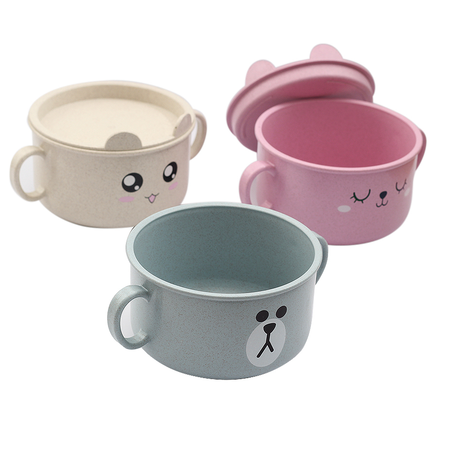 Cute Baby Cartoon Feeding Bowl 3 Colors And Children's Tableware Non-skid Training Spoon