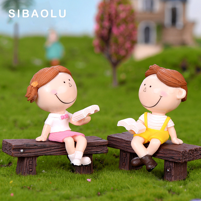3pcs Reading Book Boy Girl doll figurine cartoon figures fairy garden home miniature ornament desk decoration DIY accessory