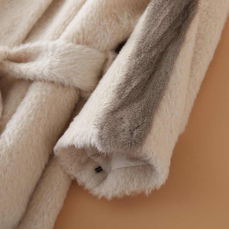 Jaqueta de inverno roupas femininas casaco de pele real casaco de lã casaco de pele de vison coreano elegante fino ajuste cashmere longo casaco zt573