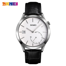 SKMEI Simple Male Wristwatches Date Time Waterproof Mens Watches Top Brand Luxury Leather Quartz Clock Relogio Masculino 1581