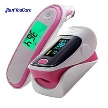 مقياس نبضات الإصبع الطبي مقياس التأكسج للأذن مقياس حرارة الأشعة تحت الحمراء جهاز رقمي محمول للرعاية الصحية العائلية Spo2 PR أوكسيمترو دي بولسو