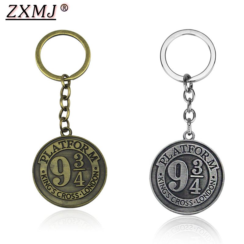 ZXMJ Harried Platform 9 3/4 Logo Potters Keychain Keyring 2 Colors Vintage Round Pendant Hogwarts School Chaveiro Jewelry Gift