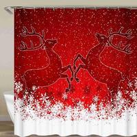 Christmas Tree&Deer Shower Curtain Snow Happy New Year Christmas Socks Bathroom Curtain Waterproof Fabric With Hook 72x72 Inch