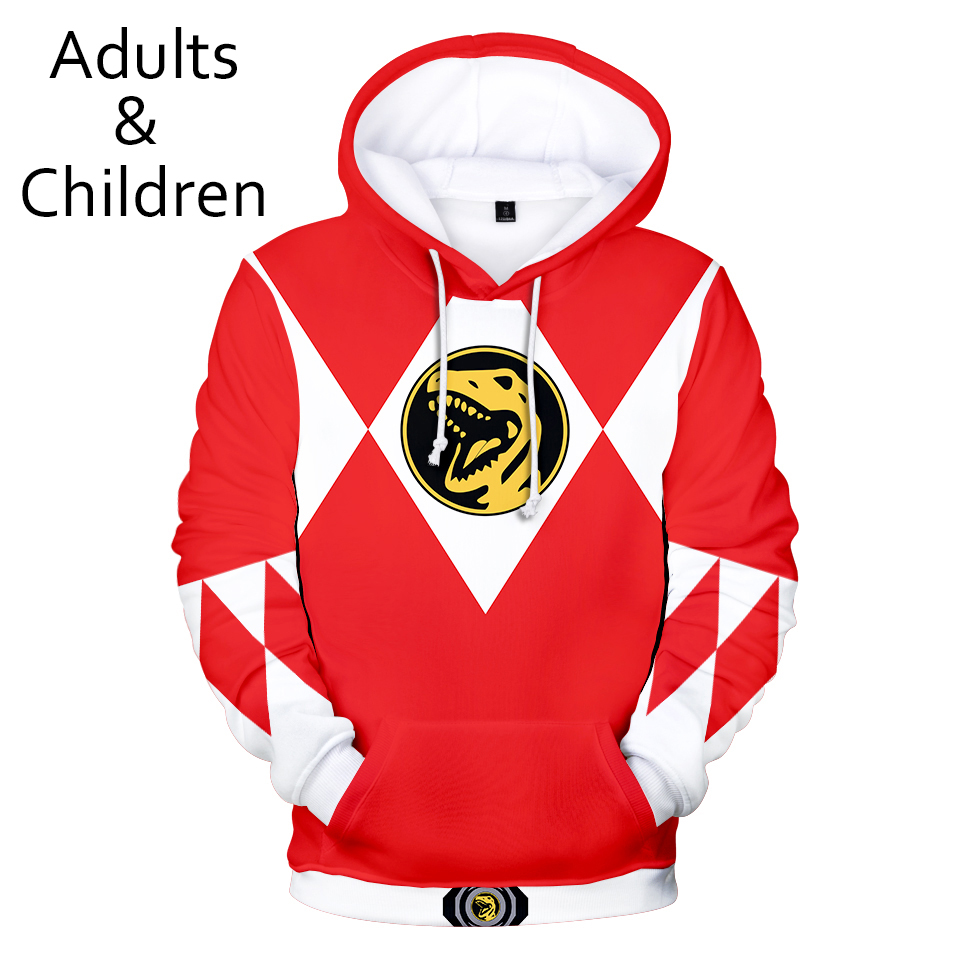 Hot 3D Power Rangers Hoodies Men Women Sweatshirts New Kids Hooded Autumn Boys Girls Red+white 3D Power Rangers Hoodie Pullovers