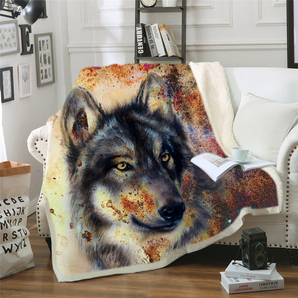 Teal Travel Wolf Super Soft Cozy Fleece Throw Blankets for Beds House and Pets