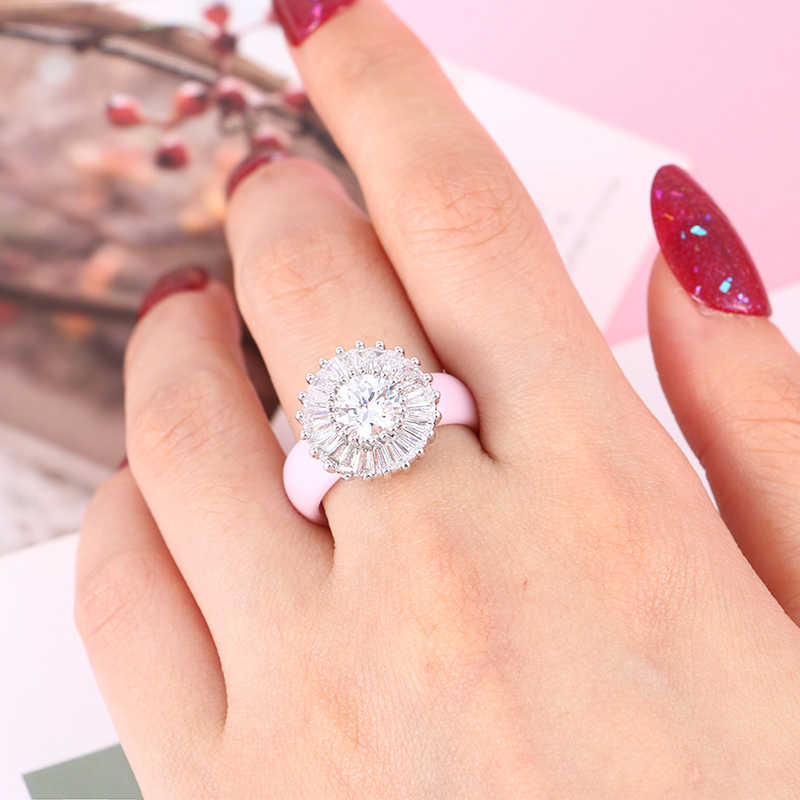 Mewah Cincin Wanita 6 Mm Hitam Putih Keramik Cincin untuk Wanita India Batu Crystal Kenyamanan Pernikahan Cincin Pertunangan Merek Perhiasan