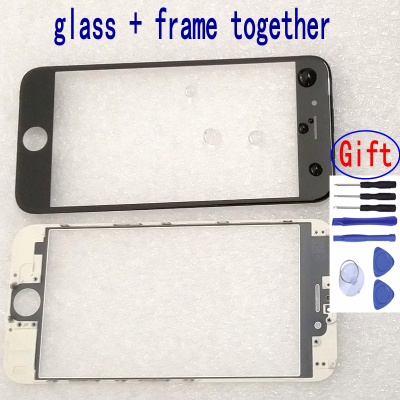 Original Front Outer Glass Frame Housing Kit For IPhone 5s 5c 6 6s 7 8 Plus Glass Window Pre-installed Middle Frame Replacement