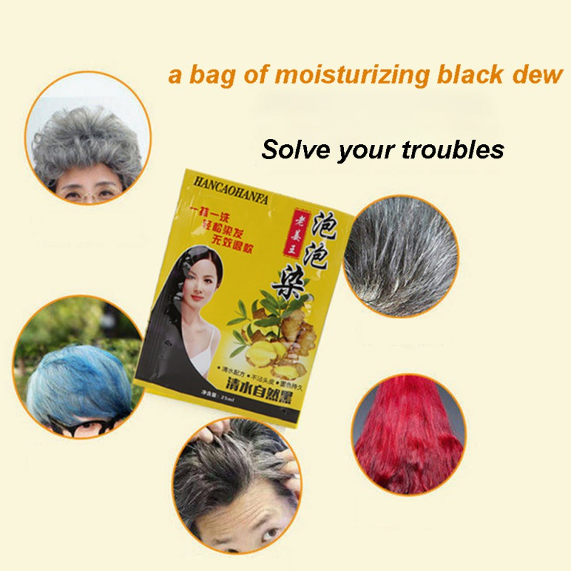 5pcs Unisex Black Hair Shampoo White Hair into Black Instant Hair Dye Natural Black Hair Cream Hair Care Long-lasting image