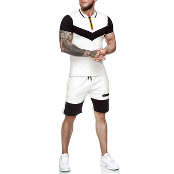 Summer Fashion Mens Shorts Sets 2021 Casual Color Matching Short Sleeved 2 Piece Set Running Sports Fitness Tracksuit Men 2