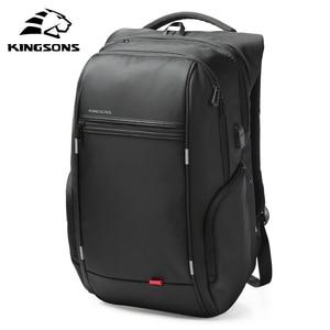 Image 2 - Kingsons 15 인치 노트북 배낭 USB 충전 도난 방지 배낭 남자 여행 배낭 물 혐오 학교 가방 남성 Mochila