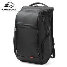 Kingsons 15 polegada Mochilas Laptop de Carregamento USB Anti Roubo Mochila Homens Sacos de Escola Masculino Mochila Mochila de Viagem Repelente À Água