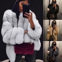 Женская Повседневная куртка больших размеров, короткая куртка из искусственного меха, теплая меховая куртка, верхняя одежда с длинными рук...