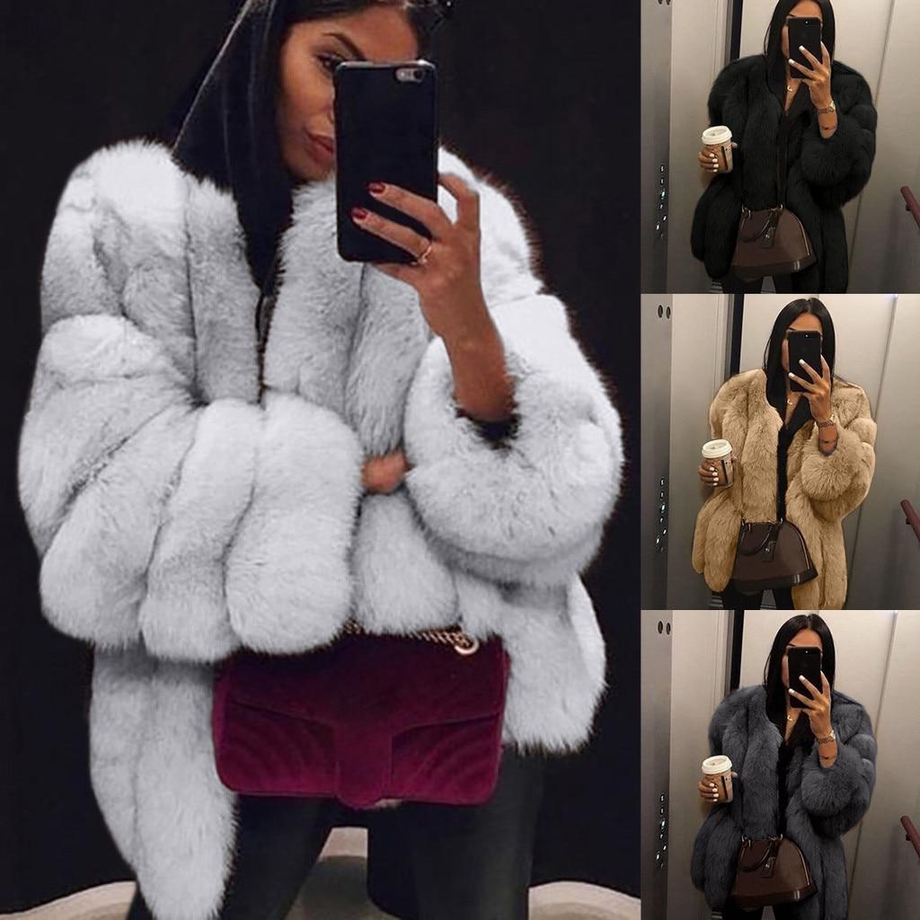Women Casual Jacket Plus Size Short Faux Fur Coat Warm Furry Jacket Long Sleeve Outerwear Autumn Winter Loose Overcoat Outwear *
