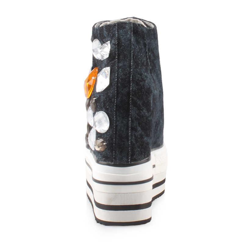 2019 frühling Kristall Schuhe Frauen 12CM Heels Plattform Turnschuhe Sicken Casual Denim Leinwand Schuhe High Top Wedge Schuhe Mujer