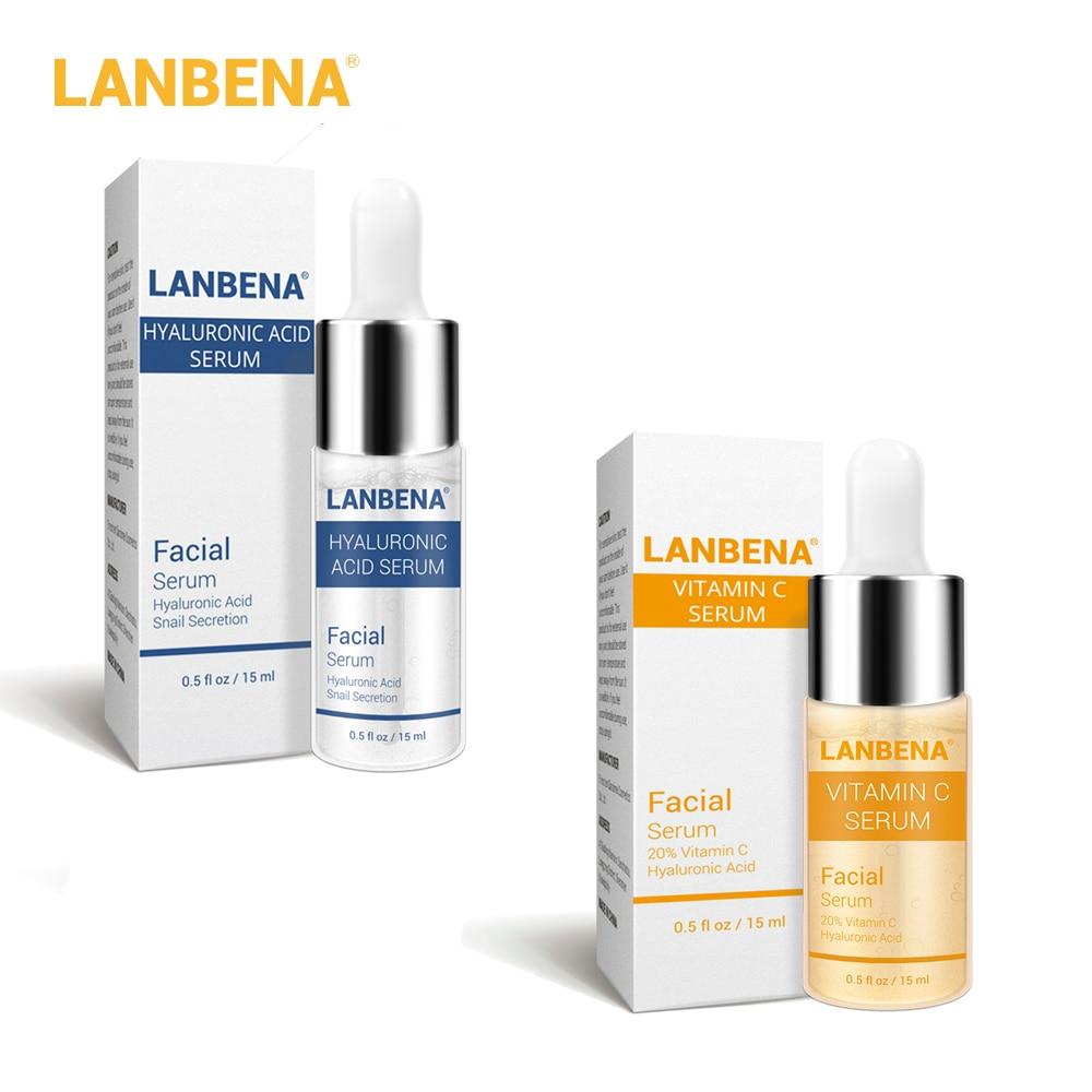 LANBENA Hyaluronic Acid+Vitamin C Serum Blackhead Removing Moisturizing Acne Treatment Repair Whitening Anti-Aging Winkles 15ml