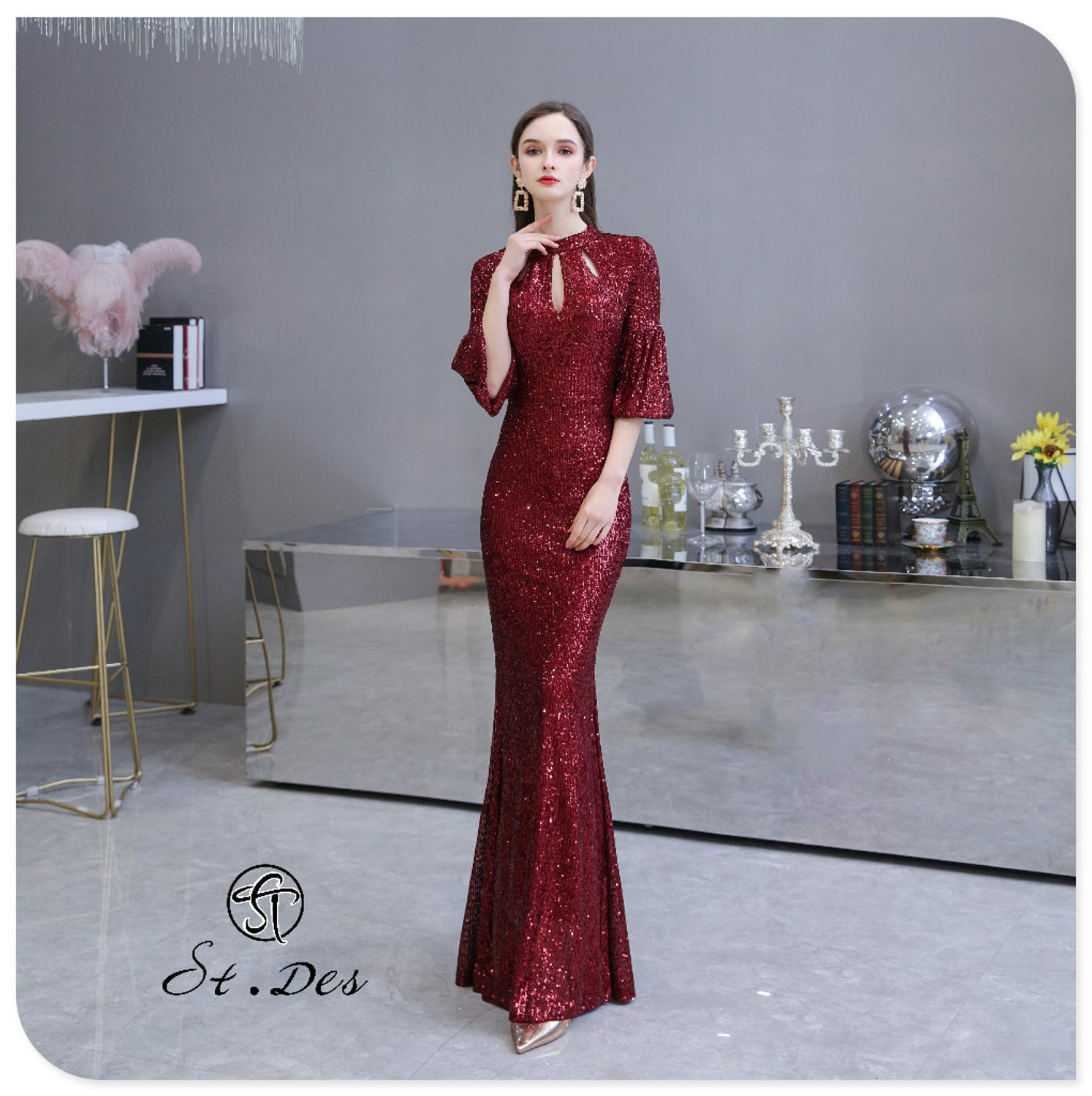 S.T.DES Evening Dress 2020 New Arrival Wine Beading Mermaid Round Neck Wine Long Sleeve Floor Length Party Dress Dinner Gowns