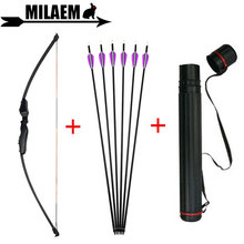 цены 40lbs Archery Recurve Bow And Arrow Set Straight Bow 32inch Carbon Arrow With Arrow Quiver Training Shooting Hunting Accessories