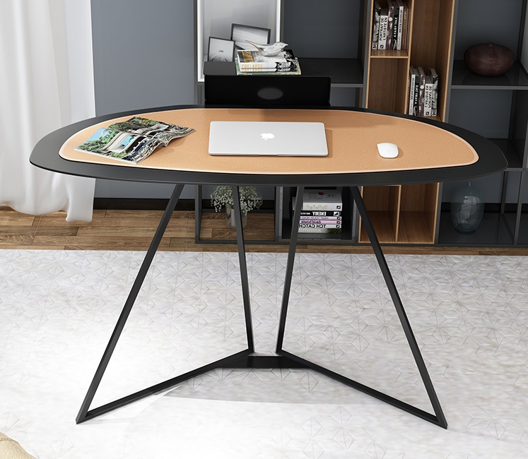 Italy Design 118cm Width Personel Study Desk / 73.5cm High Working Station With Eco Leather Pad / All Carbon Steel Made 38kg