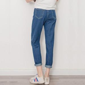 Image 4 - ג ינס נשים קיץ גבוה מותניים ישר Slim קוריאני סגנון נשים Streetwear נשי רוכסן כיסים פשוט כל התאמה שיק מכנסיים