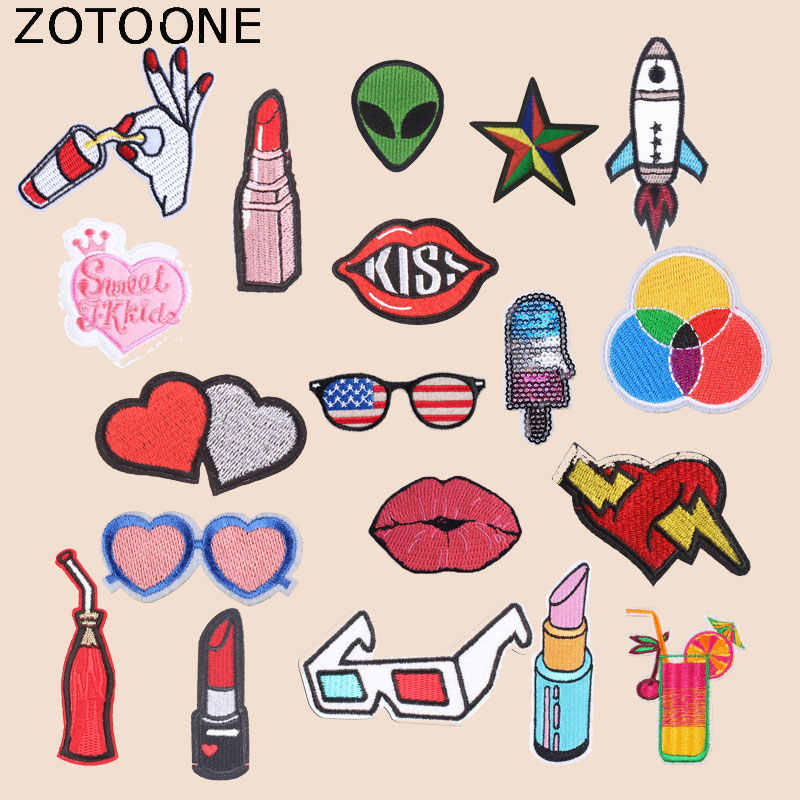 ZOTOONE Lipstick Heart Patch Lips Rocket Stickers for Kids Iron on Patches for Clothing Heat Transfer Diy Accessory Appliques G