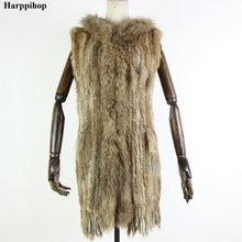 Harppihop меховой натуральный меховой жилет из натурального кроличьего меха вязаный жилет с капюшоном длинное пальто куртки для женщин зимние V-211-05