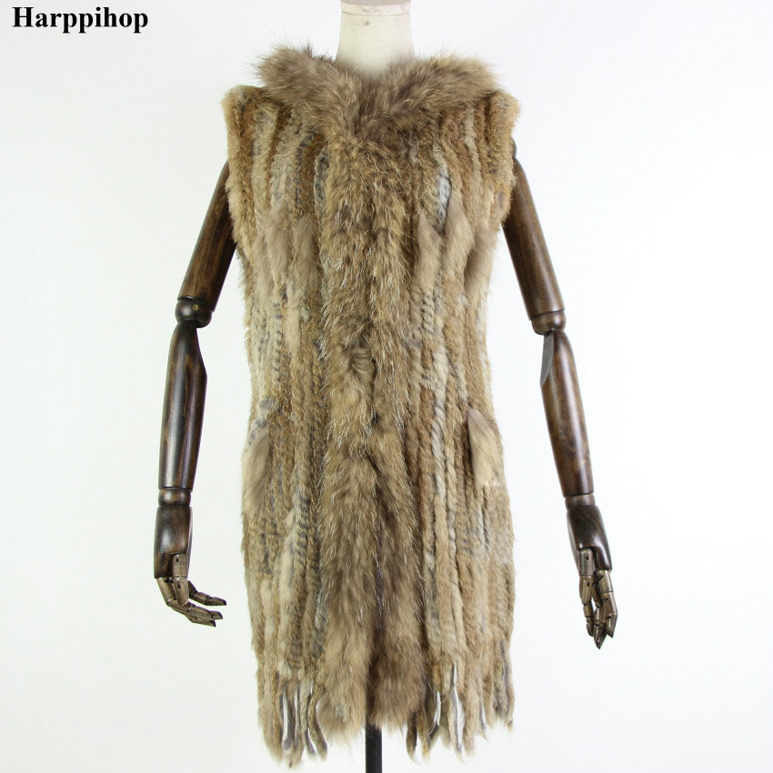 Harppihop Fur New Natural Fur Vest Genuine Rabbit Fur Knitted Gilet With Hooded Long Coat Jackets Women Winter V-211-05