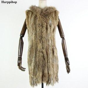 Image 3 - Новый жилет из натурального меха Harppihop, вязаный жилет из натурального кроличьего меха с капюшоном, длинное пальто, женские зимние жилеты