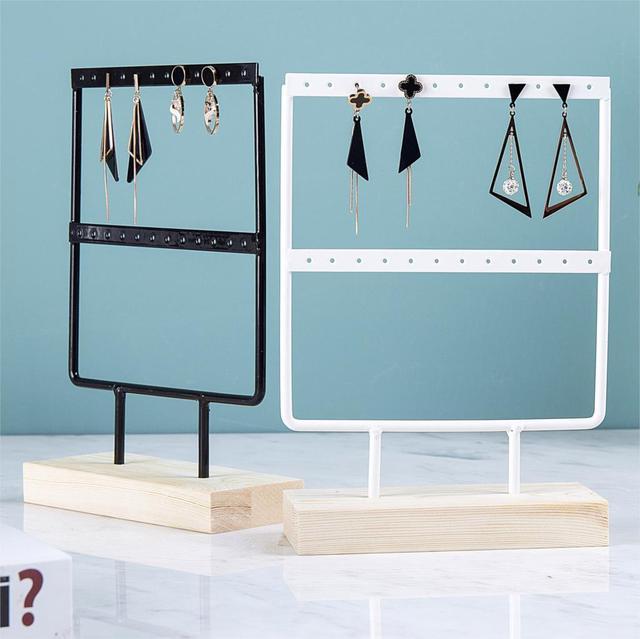 Wholesale Wooden Base Metal Ear Studs Pendant Jewelry Holder Display Stand Organizer Earrings Presenting Rack 24/44/66 Holes 3