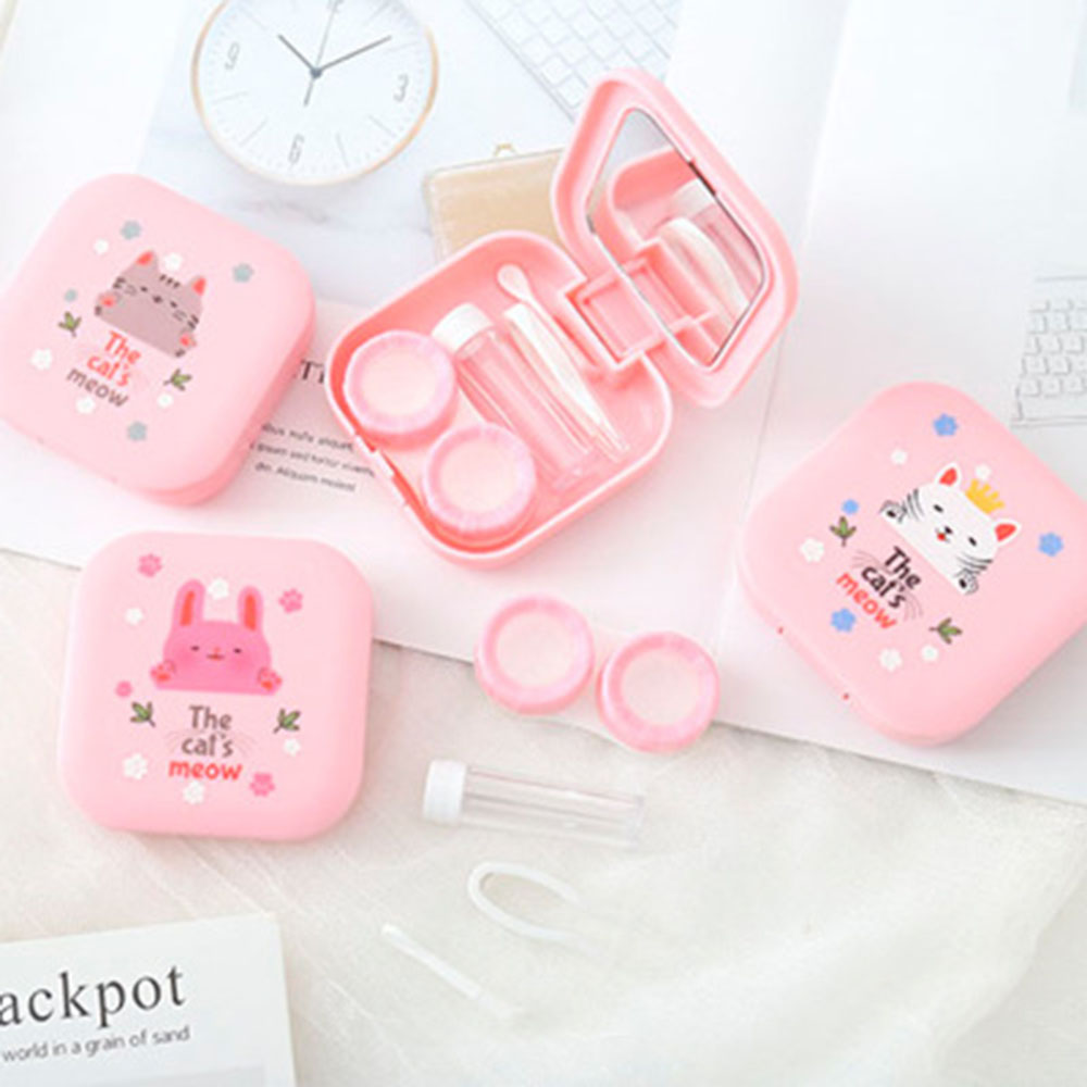 Mini Contact Lens Case Cute Cartoon Pink Animals Contact Lenses Case Travel Kit Eyewear Cases With Mirror Eyewear Accessories