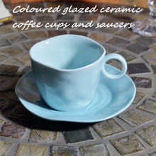 200 мл цветная глазурованная керамическая кофейная чашка с блюдцем набор синих кофейных чашек