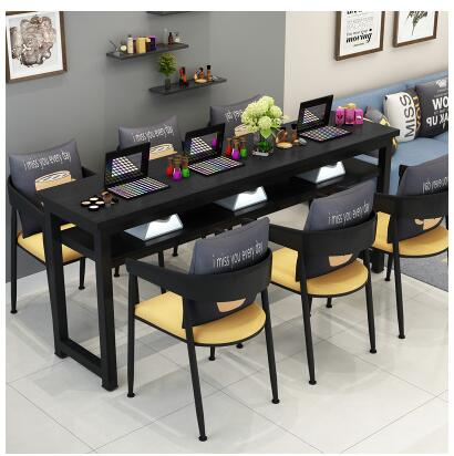 Маникюрный Стол и стул набор простой современный двойной черный маникюрный магазин стол специальная цена ретро Маникюрный Стол одиночный - Цвет: 180 cm 6 chairs