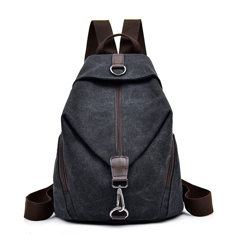 Unisex Backpack Retro Solid Color Canvas Women Backpack Large Capacity Casual Women And Men Backpack Student School Bag