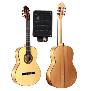 Professional Handmade 39 inch Electric Acoustic Flamenco guitar With Solid Spruce/Aguadze Body +pickup,Classical guitar free shipping professional koa wood guitar grand auditorium body guitar handmade armrest koa 6 string acoustic electric guitar