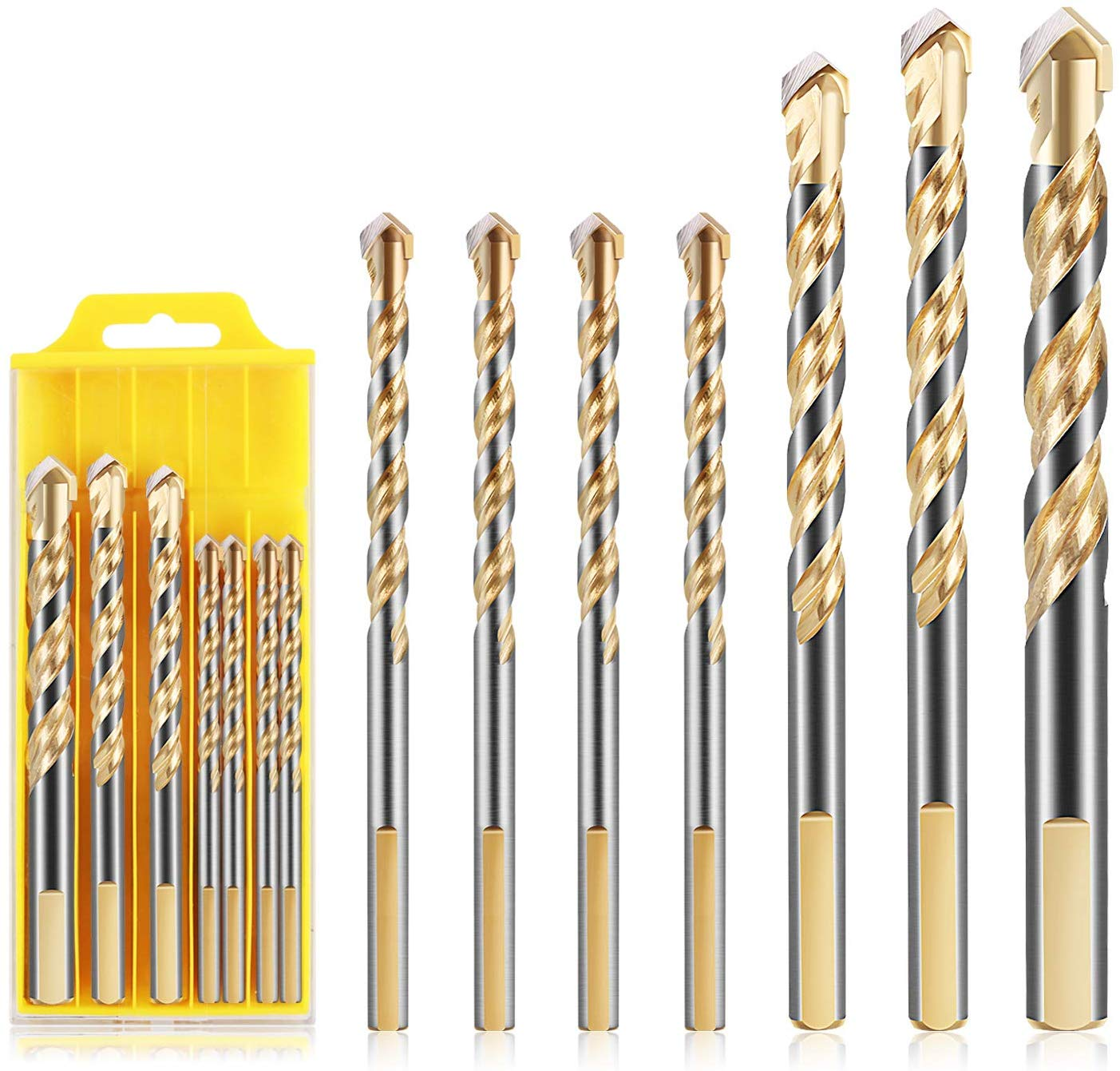 Material Drill Bit Set For Tile Wall Mirror And Ceramic Tile On Concrete And Brick Wall