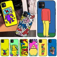 interesting Keith Haring art TPU black Phone Case Cover Hull For iphone6 6s plus 7 8 7 8 plus X XR XS MAX 11 Pro Max Cover coach x keith haring бумажник